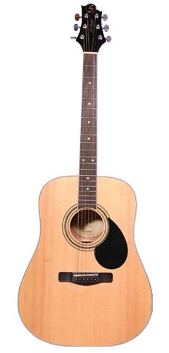 (✅) Love the colour of this! And the shape of the headstock.  Greg Bennett GD100S Acoustic Guitar with Solid Top in Natural Gloss ($279 from the Music Shop)