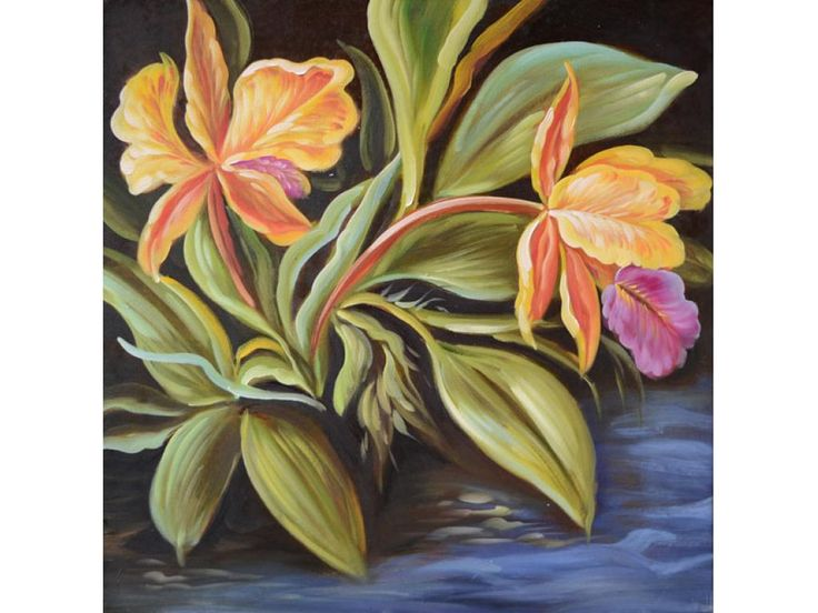 ORIGINAL Oil Painting Exotic Flowers 24 x 24 Colorful Flowers Yellow Orange Pink Green Exotic ART by Marchella