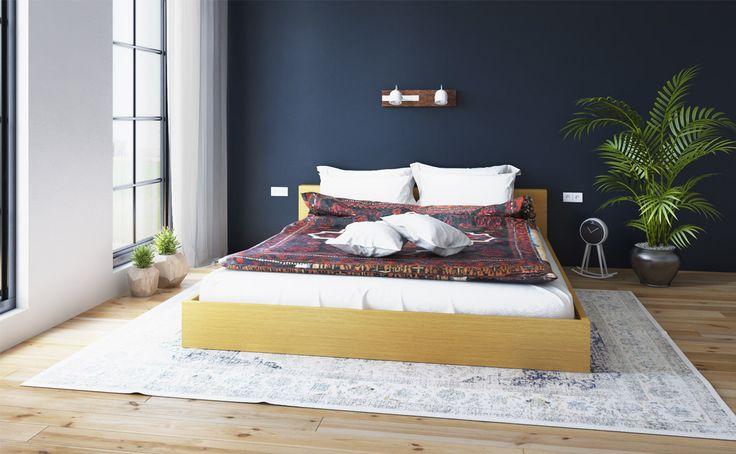 Inspirasi. Keseluruhan bagian tempat tidur ini terbuat dari kayu oak dengan warna cokelat yang indah. Bagian paling unik dari tempat tidur ini adalah desain kepala tempat tidurnya yang berbentuk huruf T dengan garis-garis yang tegas, sangat cocok untuk melengkapi dekorasi kamar tidur Kamu.