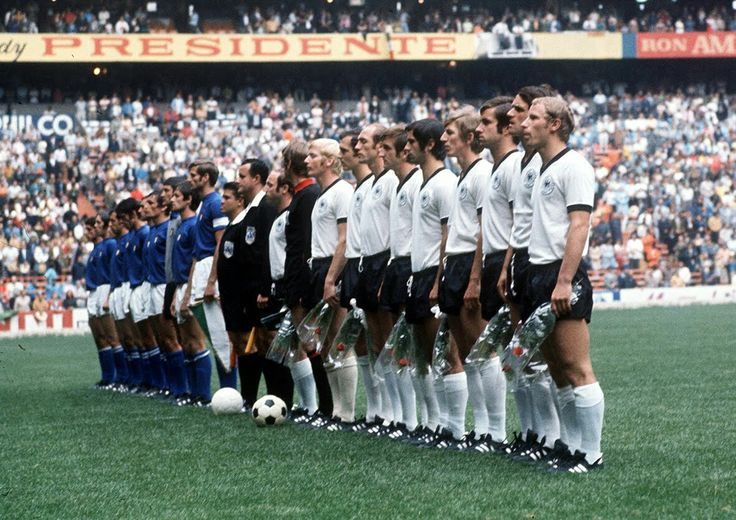 Italy 4 West Germany 3 in 1970 in Mexico City. The teams line up for the classic World Cup Semi Final.