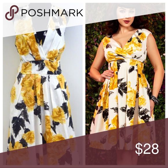 ☀️ Pinup Girl Clothing Yellow Rose Sadie Dupe This Corey P dress is a dupe for Pinup Girl Clothing's Sadie Dress. It is the identical yellow rose fabric, they both feature surplice neck lines, skim the knees, and have pleated skirts. This dress features a defined waist, and has POCKETS. Worn for a couple events, in very good condition. To be very clear- this listing is for the dress on the left. Modcloth Dresses