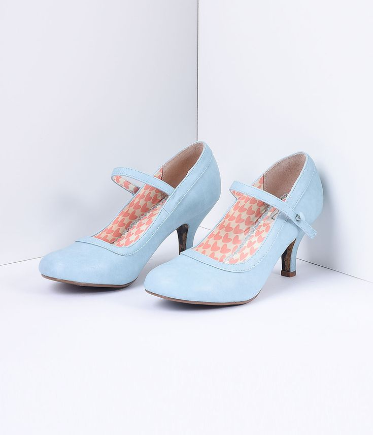 Powder Blue Leatherette Bettie Retro Mary Jane Heels $68.00 AT vintagedancer.com