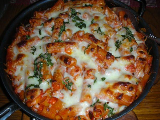 From the TV show, only one pan, easy clean-up and very good flavor.  America's Test Kitchen  Skillet Baked Ziti