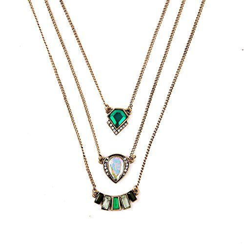Lvxuan Fashion Personality Geometric Emerald Pendant Three Layers Brand Necklace * To view further for this item, visit the image link.(This is an Amazon affiliate link and I receive a commission for the sales)