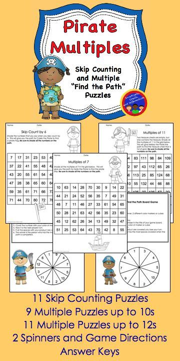These fun puzzles are great for practicing skip counting and finding multiples. They can also be played as a 2 or 3 player game. Spinners, directions, 31 puzzles and answer keys are all included. $