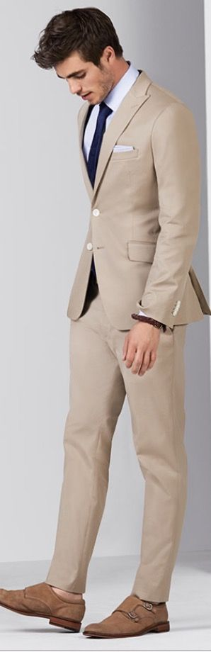 Beige suit, White Dress Shirt, Navy Necktie | Men's Fashion | Menswear | Moda Masculina | Shop at designerclothingfans.com