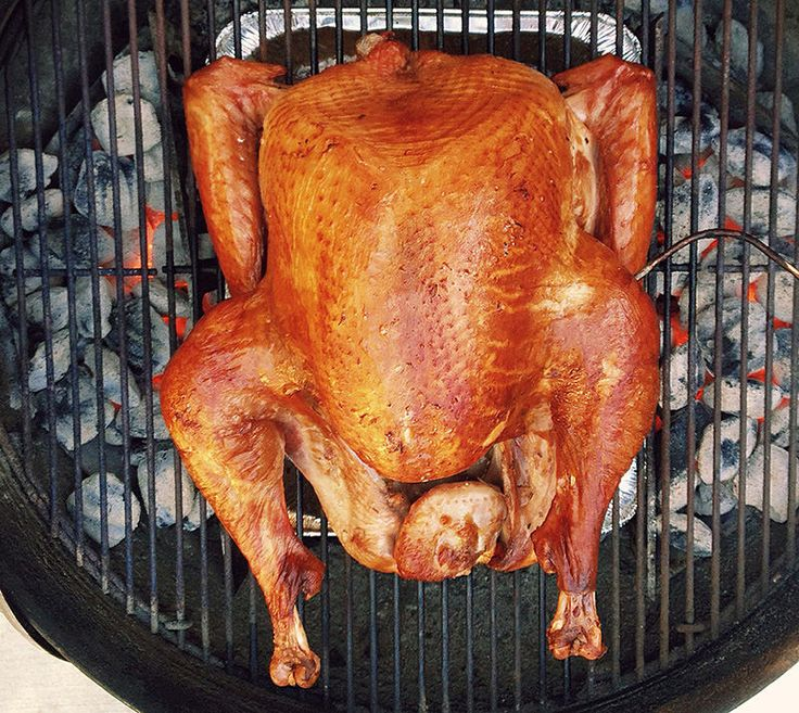 How to make Thanksgiving Day BBQ Turkey on a Weber Kettle for moist, delicious smoked turkey with crispy flavorful skin. Make your mama proud.