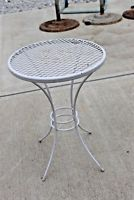 Vintage Woodard SALTERINI SIDE TABLES Wrought Iron Wire Mesh Top Outdoor Patio