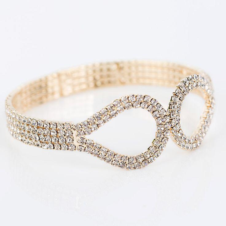 YFJEWE New Fashion Luxury rhinestone bracelet Austrian Crystal Wrist Four Rows Bangles For Women Jewelry B068