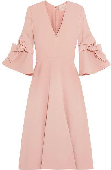Roksanda - Sibella Bow-detailed Crepe Midi Dress - Blush