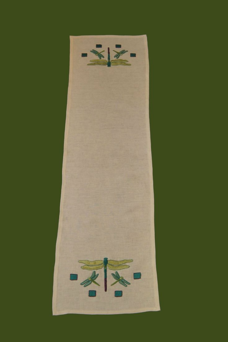 Arts and crafts table linens - Arts Crafts Stitches Craftsman Style Textiles Hand Embroidery Dragonfly Table Runner