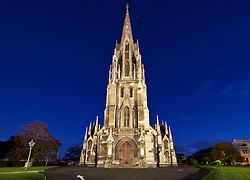 The gothic First Church of Otago at twilight