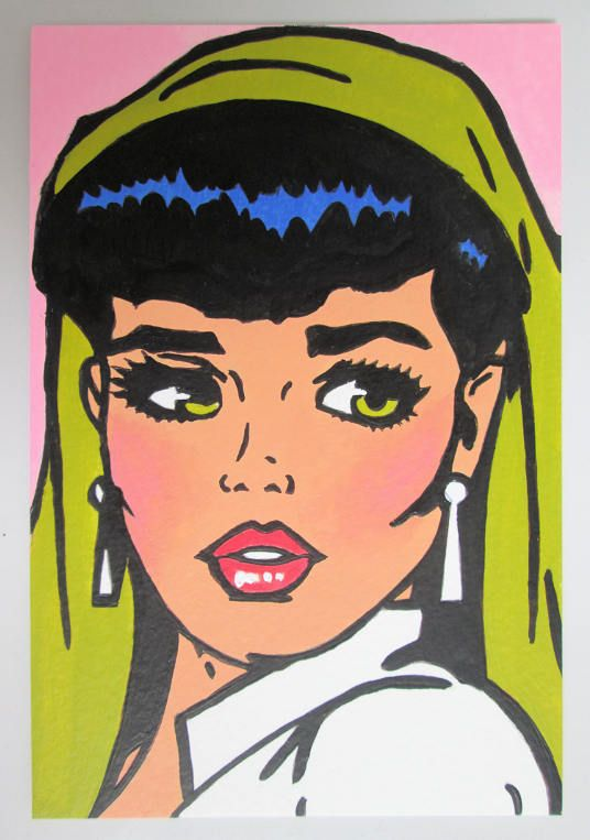 Hand made Hand Painted Original Acrylic Postcard size Painting Beautiful Pop Art Comic Girl green eyes  size 6 x 4 inches
