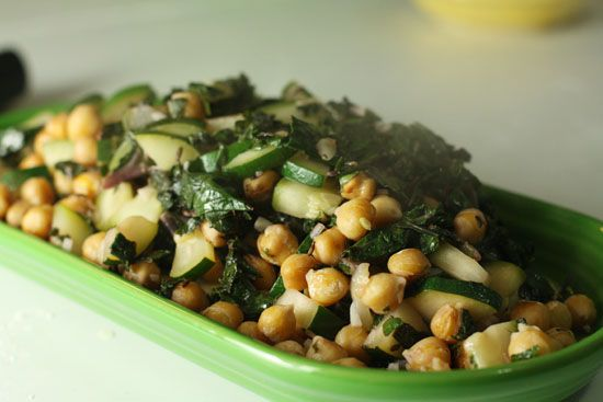 Chick pea and kale stir fry. Two of my favorite foods.