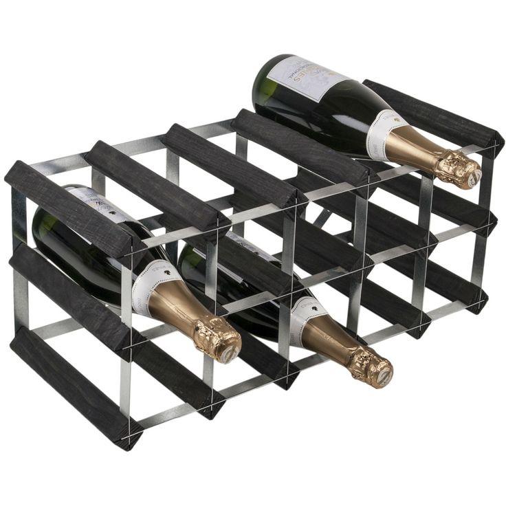 Traditional Wine Rack Co Self Assemble Wijnrek, 15 flessen zwart