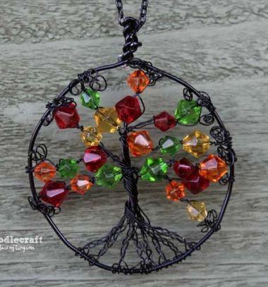 Autumn life tree medal - easy DIY wire jewelry // Őszi életfa medál - drótékszer készítés egyszerűen // Mindy - craft tutorial collection // #crafts #DIY #craftTutorial #tutorial #Beading #BeadCraft #Gyöngyfűzés