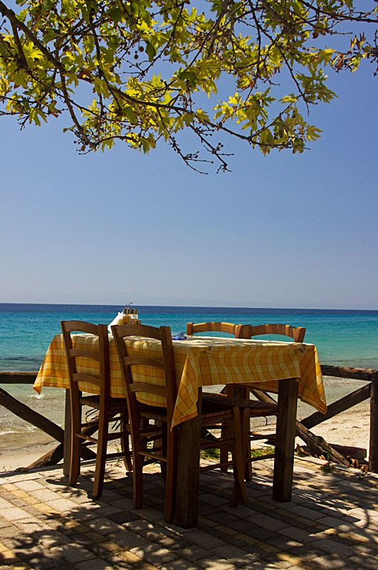 This is my Greece | This is a shot of a typical greek tavern restaurant near a beach in Possidi, Halkidiki