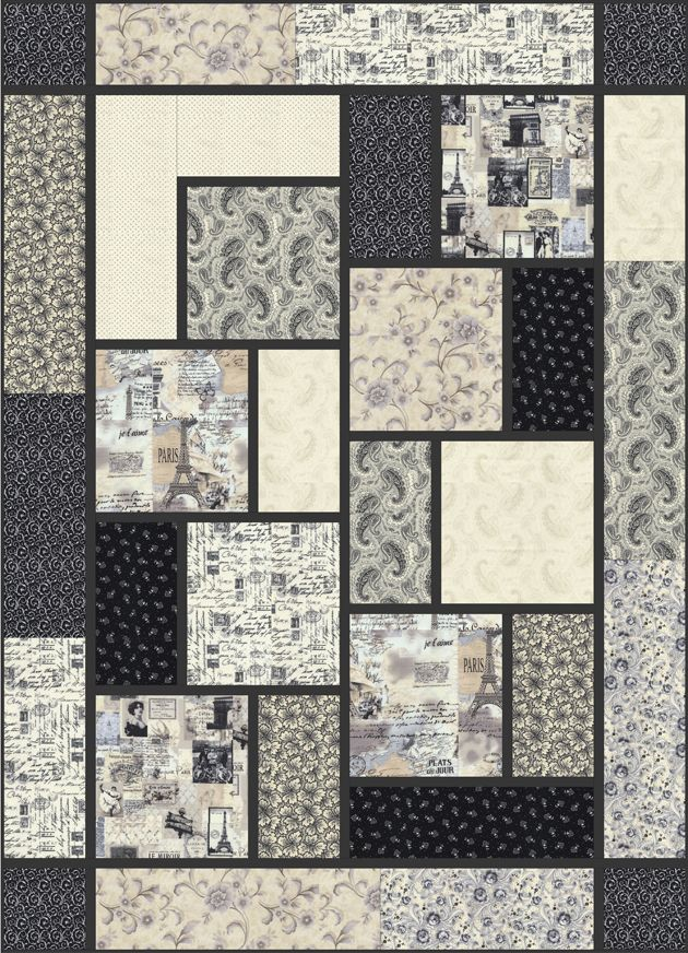 Letters From Paris - The Big Block Quilt by Black Cat Creations