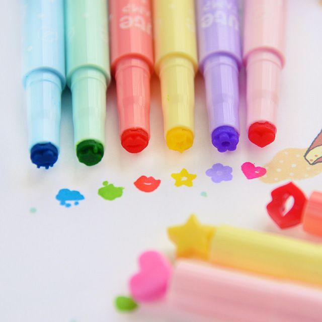 2PCS/LOT Korea stationery stamp neon pen jelly candy color marker pen multicolour pen