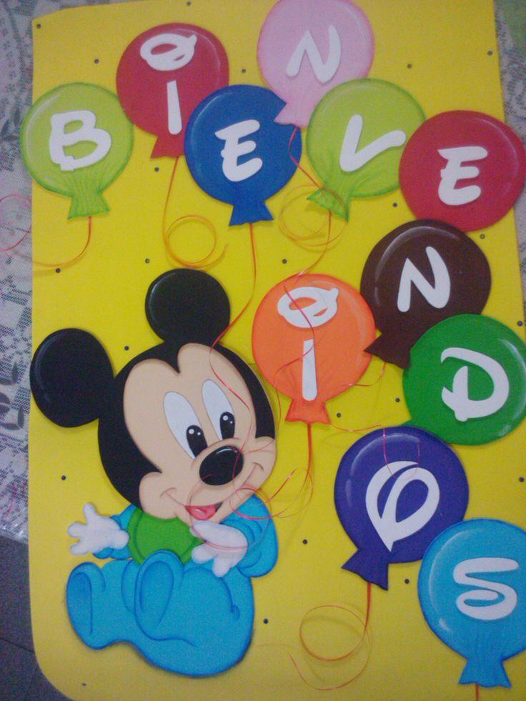 Cartel de bienvenidos para cumple tematico de mickey bebe for Canciones para jardin de infantes