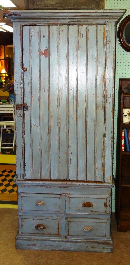 Primitive Blue Painted Cupboard