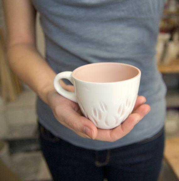 Porcelain cup coffee tea unique handmade serving by imkadesign