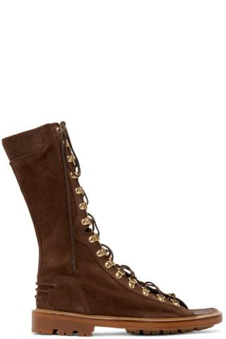 Balmain - Brown Suede Lace-Up Sandals