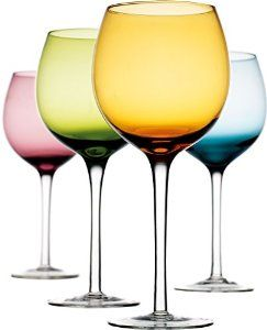 Attractive Set of 4 Assorted Color 16-oz Stemmed Wine Glasses - Home & Party Drinking Glassware 4-pc Wine Goblets Set - Visit to see more options