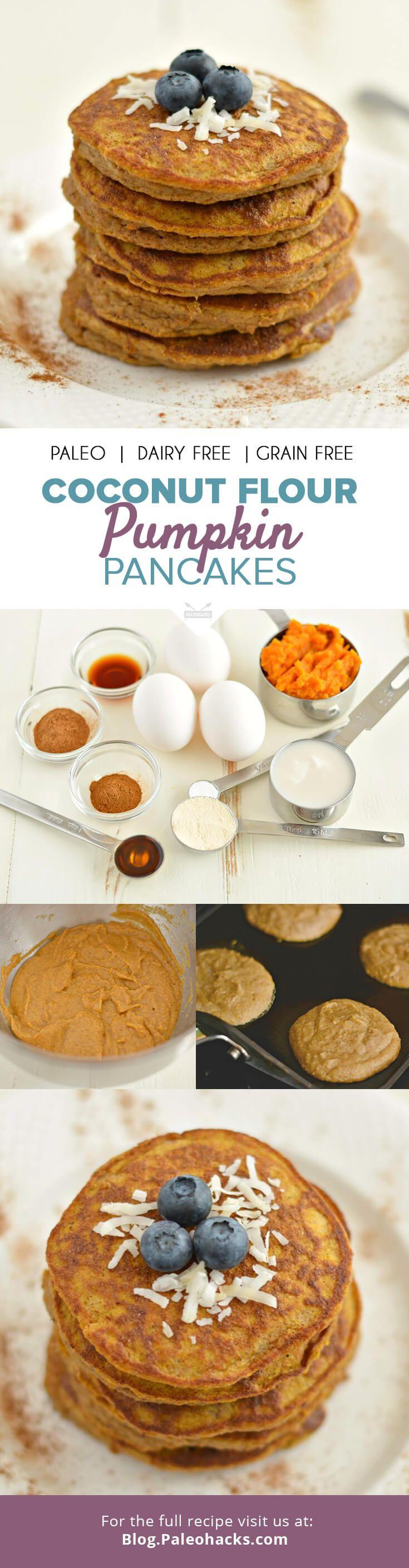 Coconut Flour Pumpkin Pancakes #justeatrealfood #paleohacks