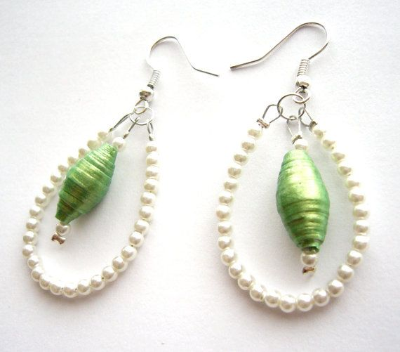 Green  white chandelier earrings made of paper beads with tiny pearl beads - upcycled jewelry, eco-friendly, recycled, repurposed