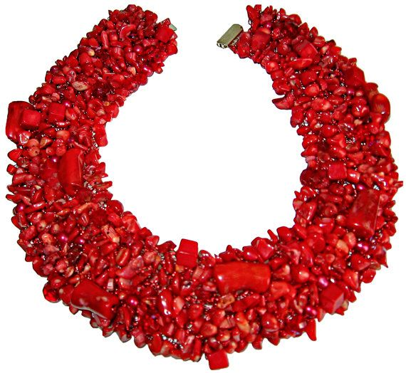 Red Coral Statement Collar Necklace by buythedress on Etsy