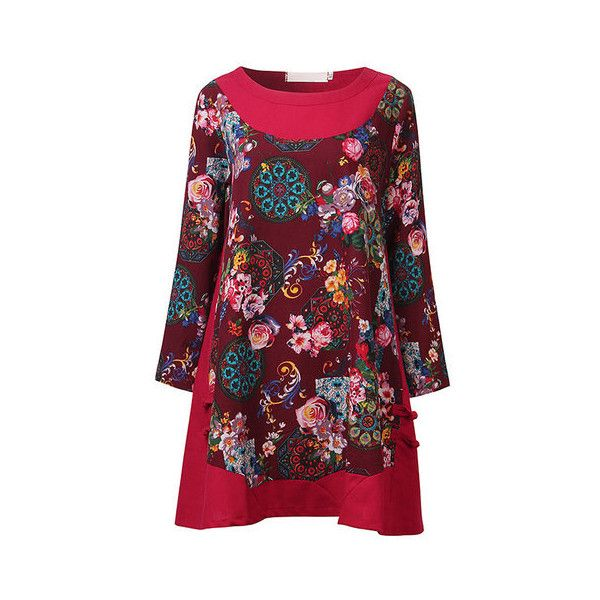 Women Ethnic Wind Vintage Printed Long Sleeve Patchwork Mini Dress (73 PEN) ❤ liked on Polyvore featuring dresses, red, women plus size dresses, plus size red dress, long sleeve short dress, short red dress, long-sleeve mini dress and plus size mini dresses