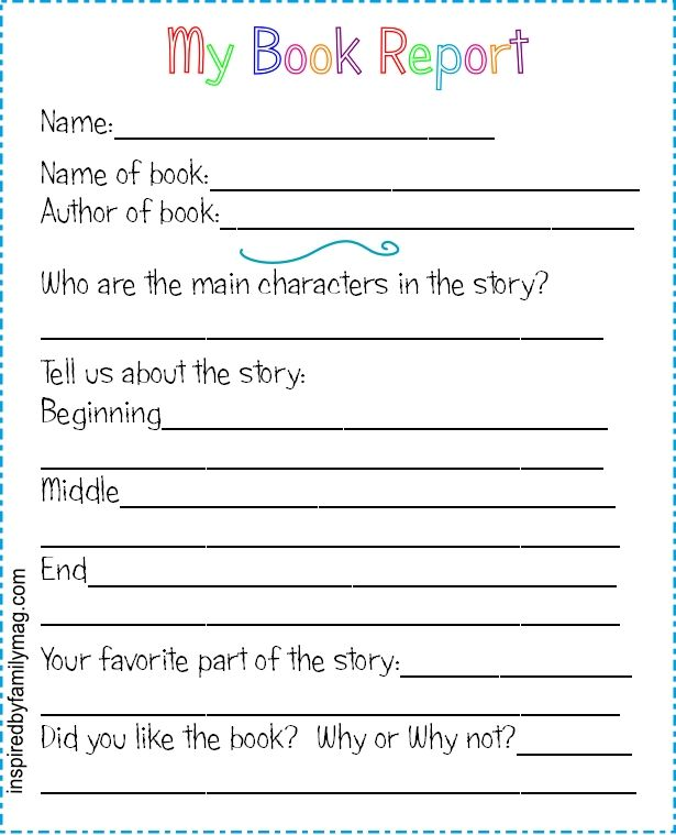Printable Book Report Forms {Elementary} …