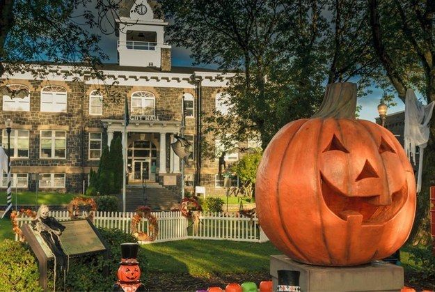 "Well, all your dreams have come true. The town of St. Helen's in Oregon has a month-long ""Halloweentown"" celebration every October. 
