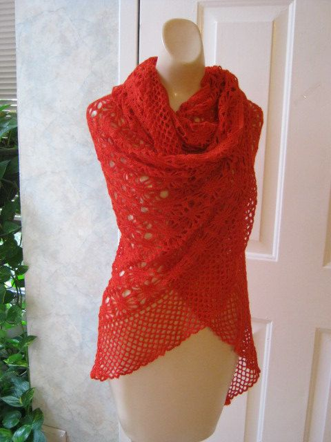 Hot tamale red crochet wrap shawl with tiny golden mohair threads. $22.00, via Etsy.