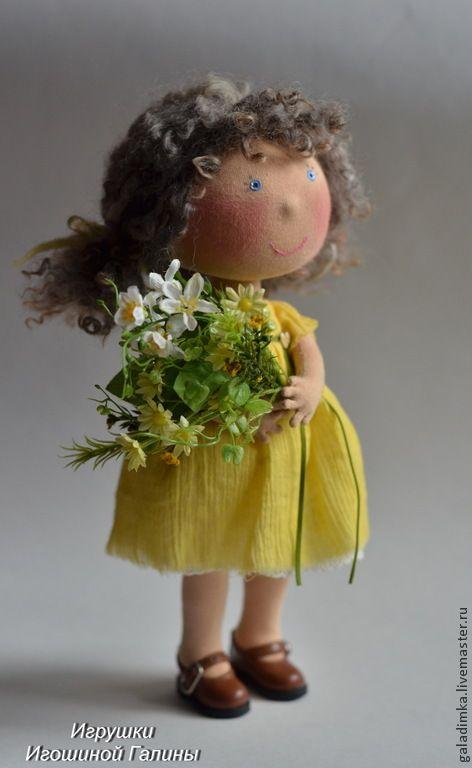 Купить Солнышко - желтый, текстильная кукла, текстильная игрушка, кукла, кукла ручной работы, подарок