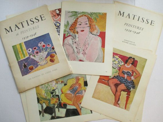 When I came across this complete set of 16 Matisse prints, it was love at first sight!  The portfolio was printed in France in 1950. Art prints are