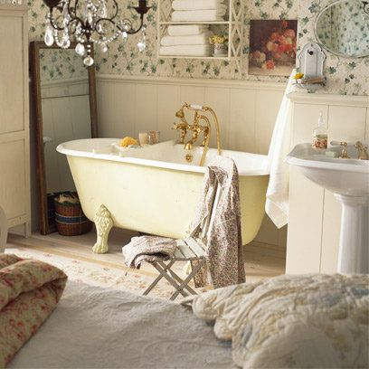 magnolia roll top bath in a country style bathroom