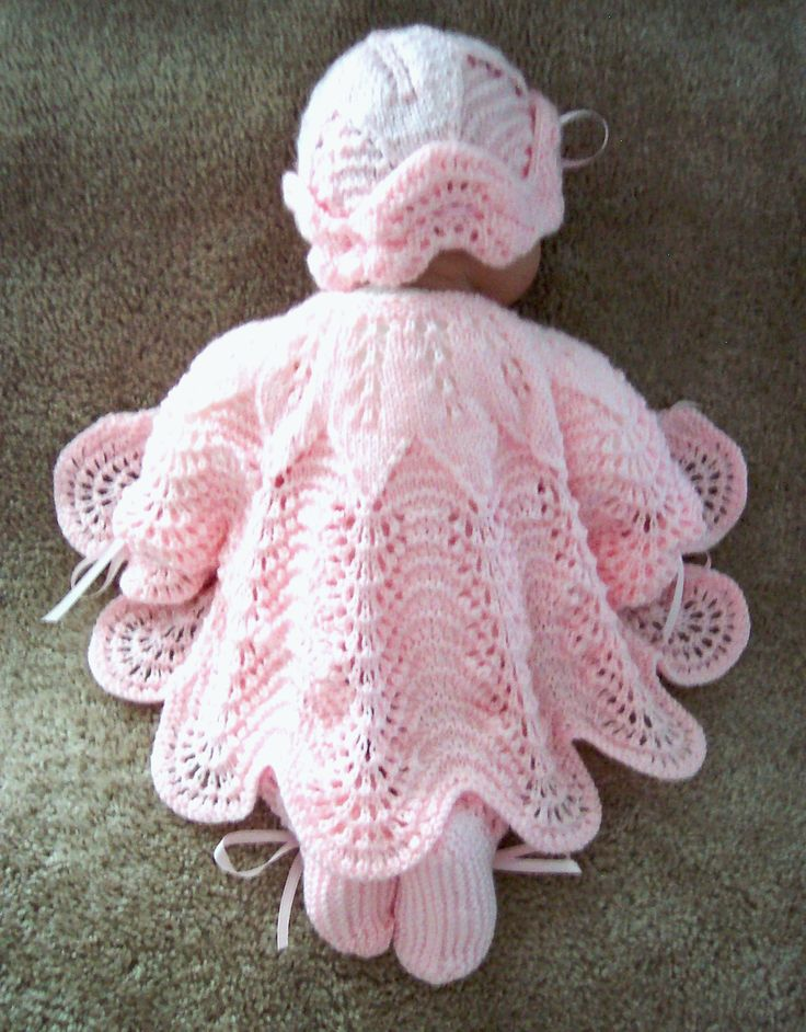 Custom handmade pink scalloped edge baby sweater, hat and booties set. Made by Grandma Anne.