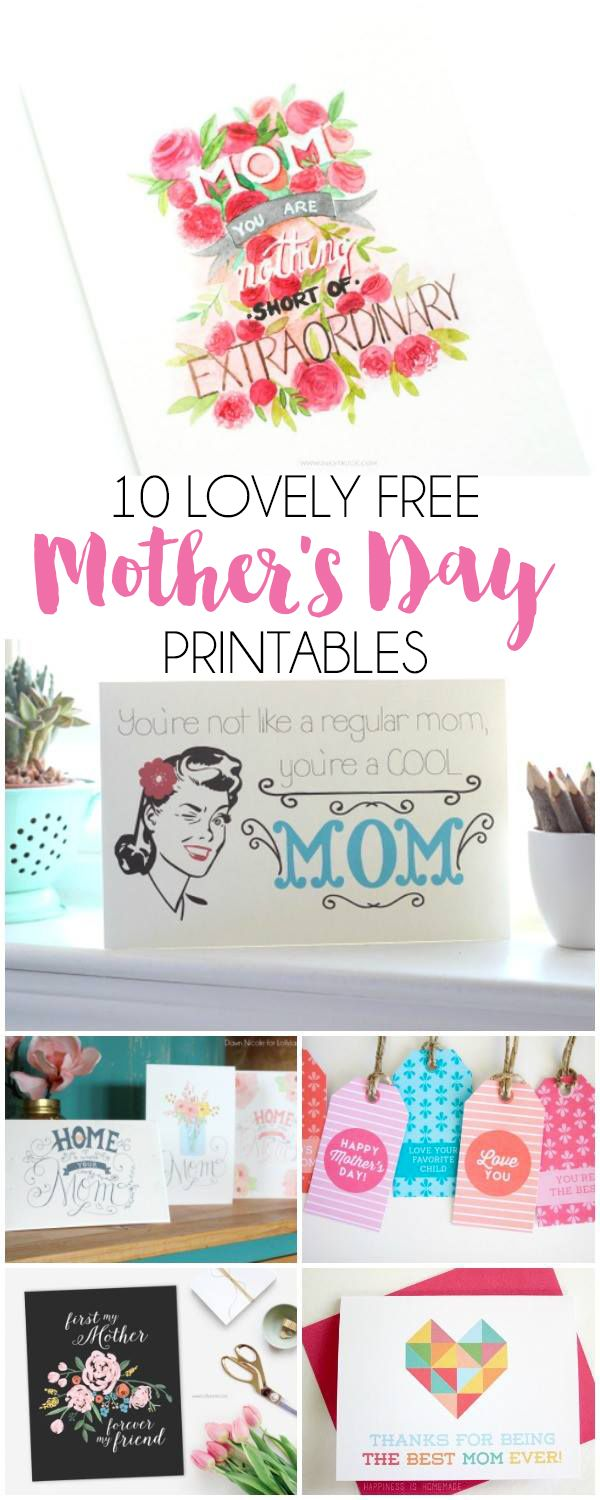 10 Free Mother's Day Printables | DawnNicoleDesigns.com free printables, Handmade Gifts, Round-Ups, Seasonal and Holiday Crafts #formom #mother #cardmaking http://bydawnnicole.com/2016/04/10-free-mothers-day-printables.html 2016