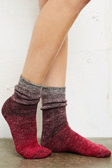 Ombre Hiking Socks in Burgundy at Urban Outfitters