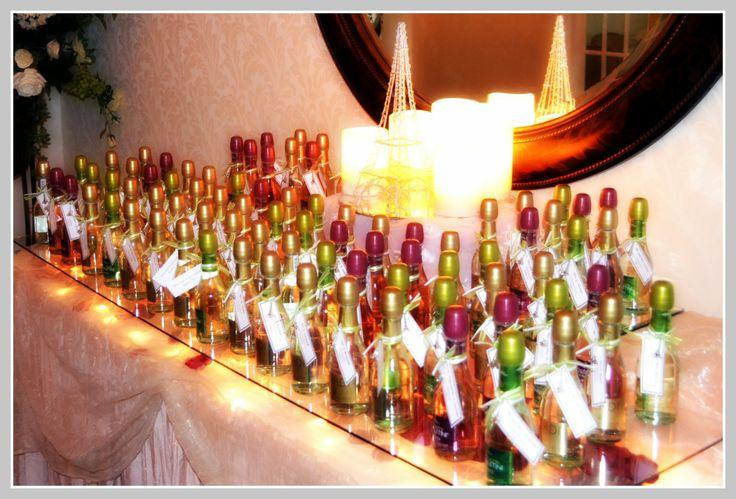 multi colored Verdi champagne bottles