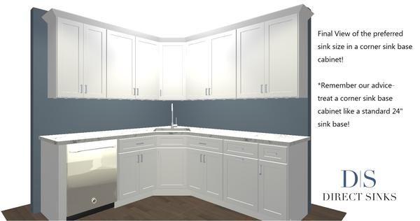 Biggest Sink For A Corner Sink Base Cabinet In 2021 Corner Sink Small Kitchen Sink Base Cabinets