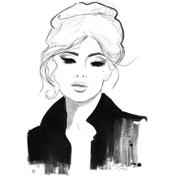 Watercolor and Pencil Fashion Illustration print, Jessica Durrant -... via Polyvore
