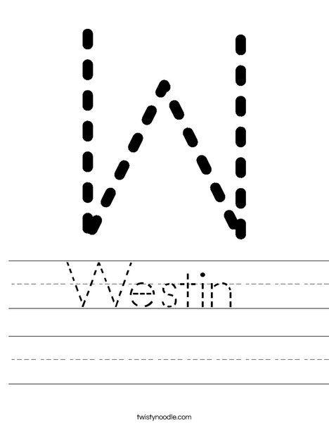 Westin Worksheet - Twisty Noodle | Worksheets, Handwriting ...