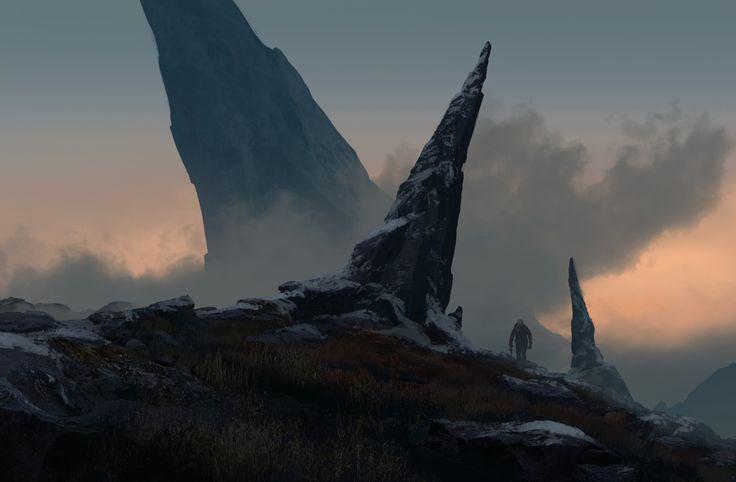 mountain top, waqas malik on ArtStation at https://www.artstation.com/artwork/2Ogga