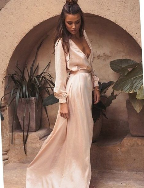 $50 - $150 All Nude Everything Monochrome Silk Satin Light Baby Pink Beige Nude Long Sleeved Maxi Dress Summer Spring Fashion Style Trends Tumblr