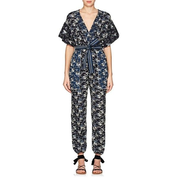 Ulla Johnson Women's Reiko Floral Cotton Jumpsuit ($345) ❤ liked on Polyvore featuring jumpsuits, indigo, draped jumpsuit, sleeve jumpsuit, cotton jumpsuit, floral print jumpsuit and flower print jumpsuit