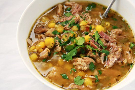 Posole (Pork & Hominy Soup)     My only change is to use Mexican hominy (like Juanita's or Teasdales) instead of white hominy