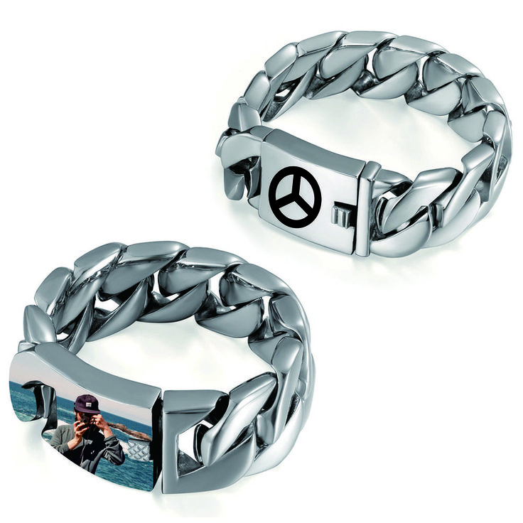 Mens Personalized Engraved Photo Picture Custom Polish Heavy Bracelet Curb Chain #Unbranded #Chain